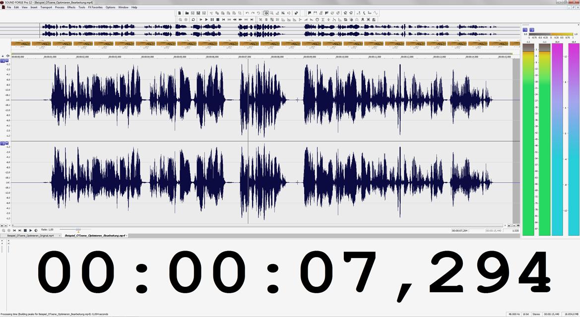 Wellenformdarstellung des gemasterten Soundfiles in Magix SOUND FORGE