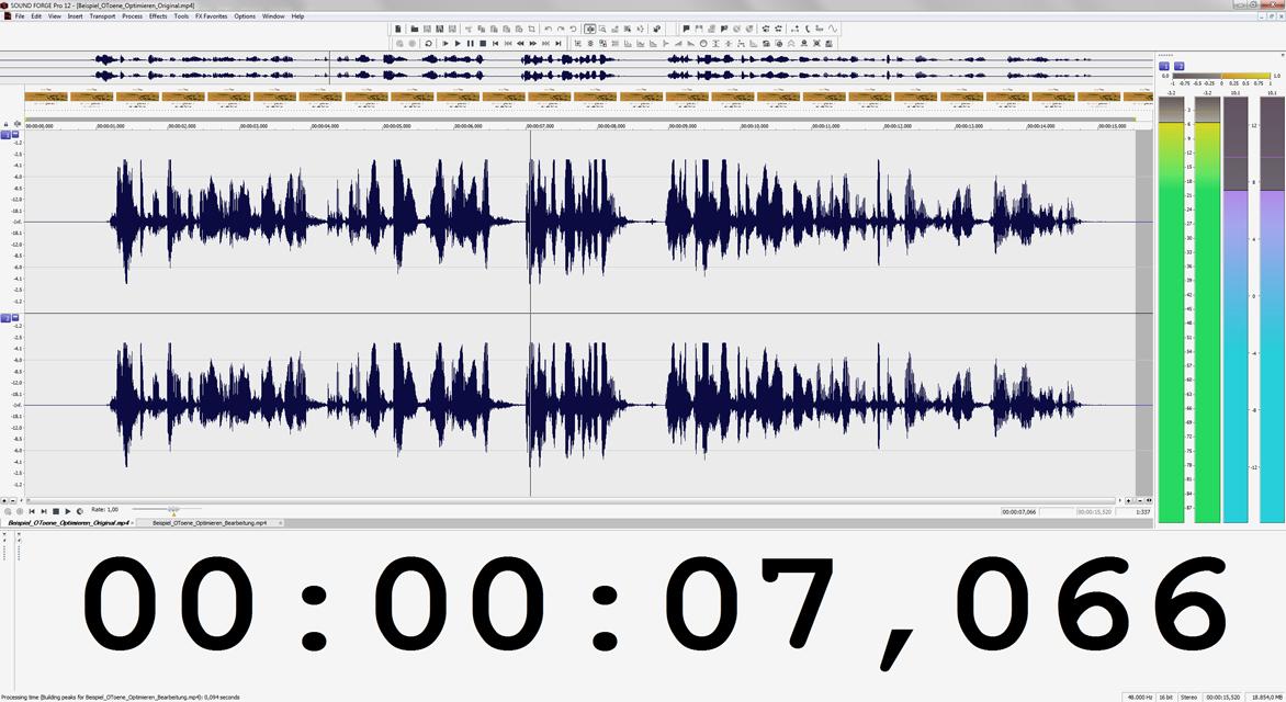 Wellenformdarstellung des unbearbeiteten Soundfiles in Magix SOUND FORGE