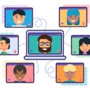 2D Comic Anischt einer Webkonferenz mit verschiedenen Teilnehmern