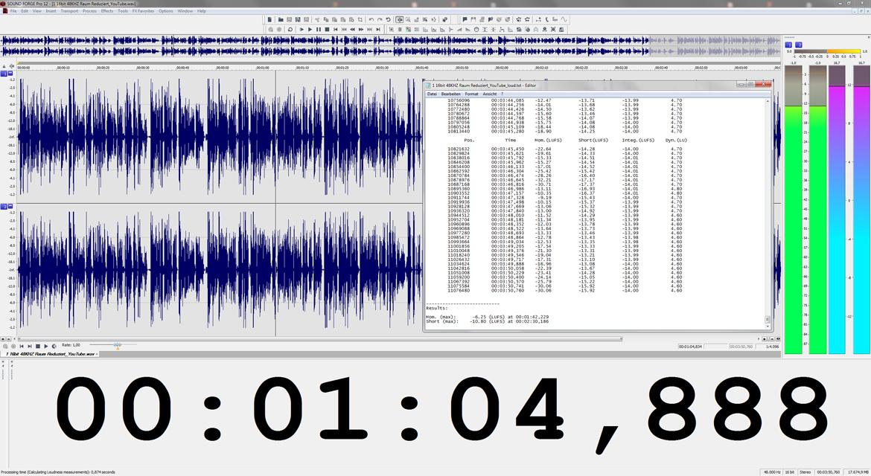 Wellendarstellung einer gemasterten Videotaufnahme mit Lautstärkebericht in Magix SOUND FORGE