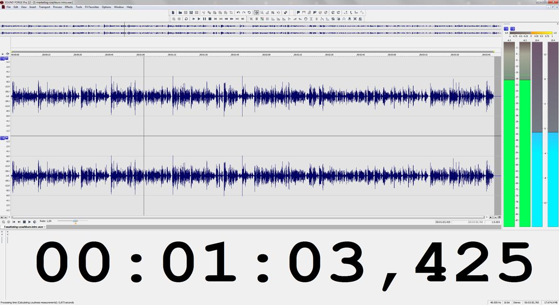 Audiowellendarstellung einer Videotaufnahme in Magix SOUND FORGE