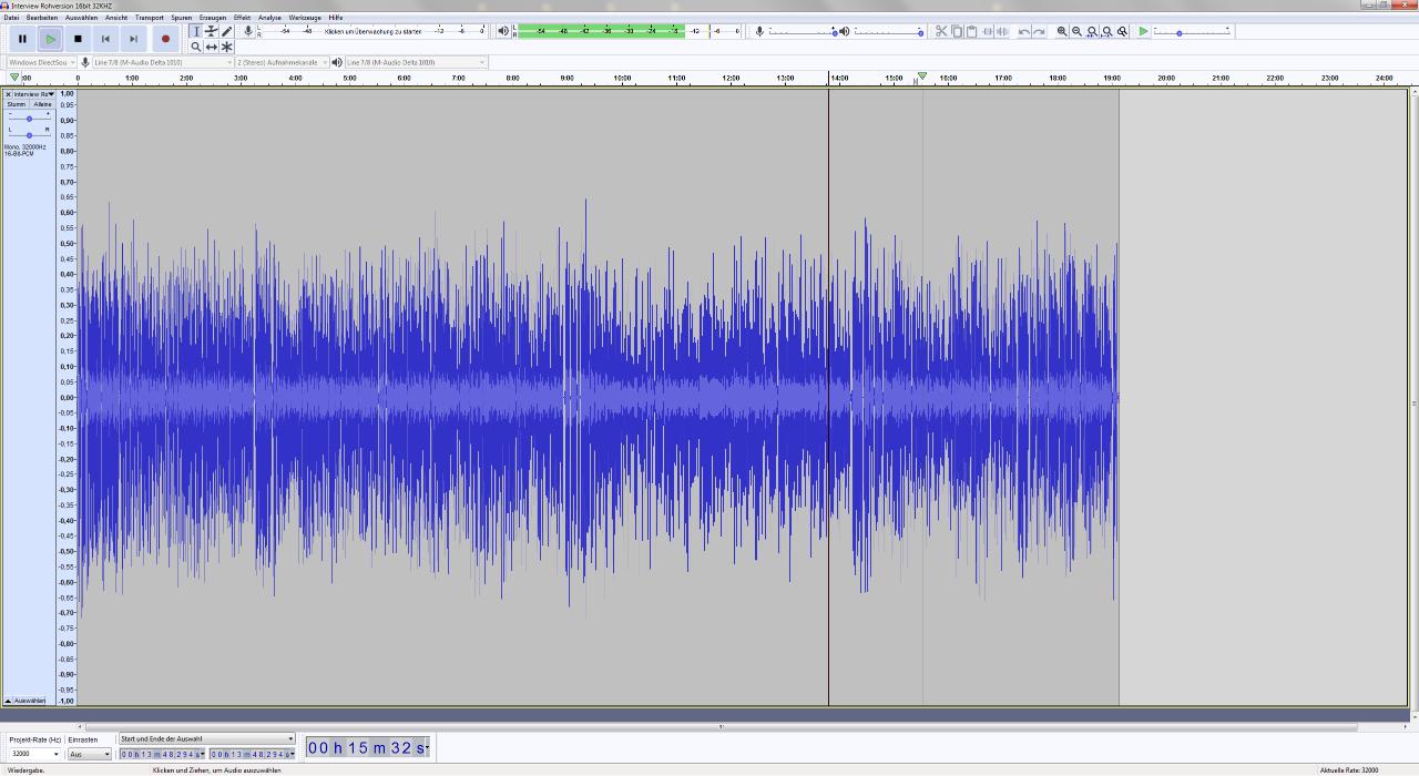Audio File eines Interviews in Audacity